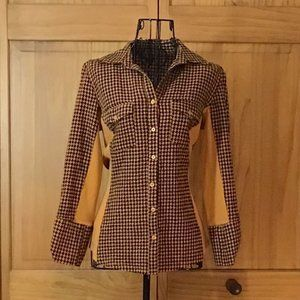 Rust Pattern Long Sleeve Button Down Blouse